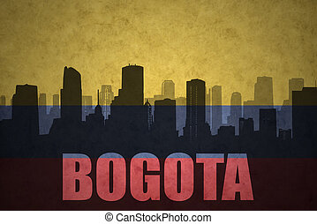 abstract silhouette of the city with text Bogota at the...