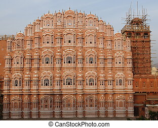 Hawa Mahal Palace of the winds in Pink City Jaipur,...
