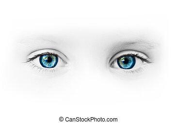 bonito, azul, olhos