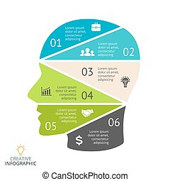 Vector brain flat infographic. Template for human head...