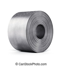 Steel sheet rolled into a roll isolated on white background....