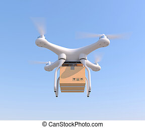 Drone quadcopter carrying cargo - Drone quadcopter carrying...