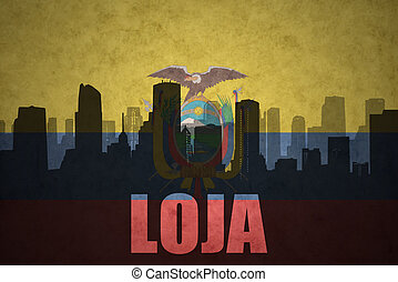 abstract silhouette of the city with text Loja at the...