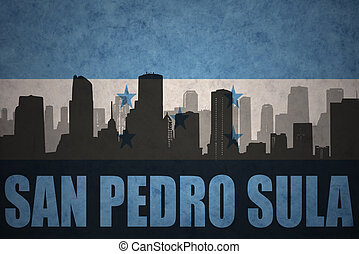 abstract silhouette of the city with text San Pedro Sula at...