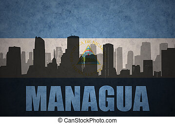 abstract silhouette of the city with text Managua at the...