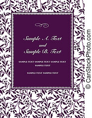 Vector Purple Invitation Frame - Vector frame with sample...