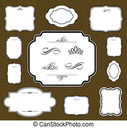 Vector Brown Frame Set - Vector frame set and seamless...