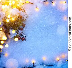 ünnepek, művészet, hó, háttér, karácsony