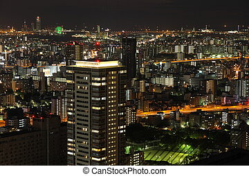 Osaka - Illuminated Osaka City at night