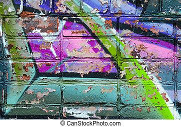 Graffiti brick wall, colorful abstract close-up shoot...