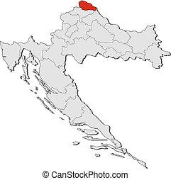 Map - Croatia, Medimurje - Map of Croatia with the...