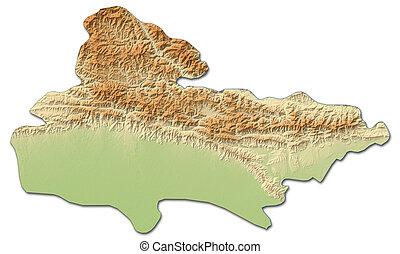 Relief map - Lumbini (Nepal) - 3D-Rendering