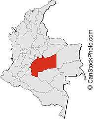 Map - Colombia, Meta - Map of Colombia with the provinces,...