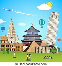 World landmarks concept. Vector illustration for travel...
