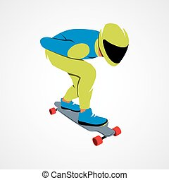 Skateboarder longboarding downhill on a white background....