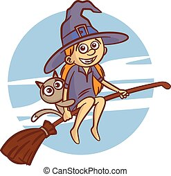 Happy Halloween. Girl in witch costume flying on broomstick