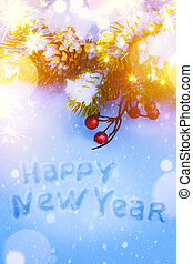 Art Christmas and New Years holidays background with fir-tree branch on snow