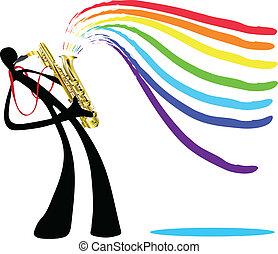 shadow man playing saxophone