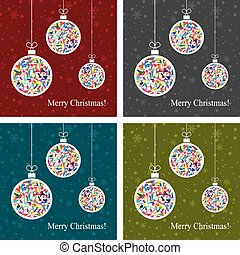 vector set of abstract backgrounds with christmas balls