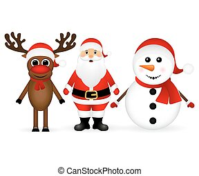 Santa Claus with reindeer and a snowman standing on a white...