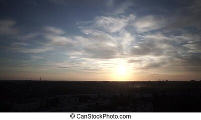 Time lapse clouds over the city - Time lapse cirrus clouds...