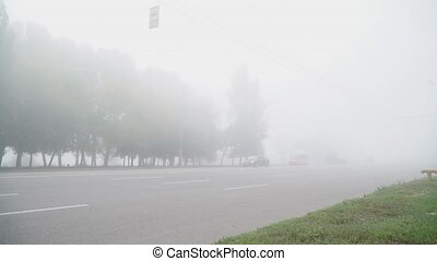 Cars leave the fog - Cars have their headlights turned on...