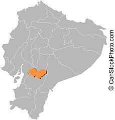 Map - Ecuador, Canar - Map of Ecuador with the provinces,...