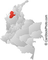 Map - Colombia, Cordoba - Map of Colombia with the...