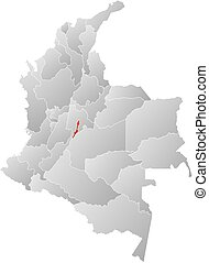 Map - Colombia, Bogota - Map of Colombia with the provinces,...