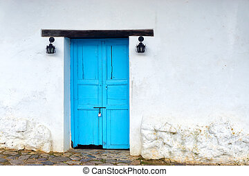 Colonial Architecture Closeup - View of old wooden door on...