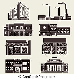Vector illustration different urban industrial buildings in a flat style.