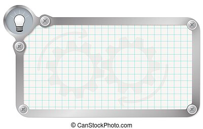 Metal frame for your text with graph paper and bulb