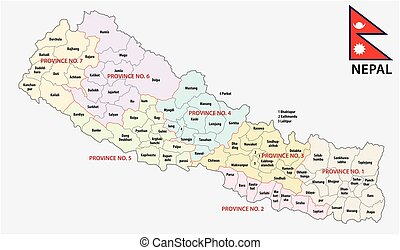 nepal administrative and political map with flag - nepal...