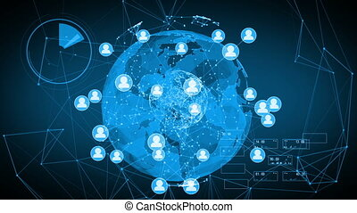 Global Social Network Around the World. 3d seamless...