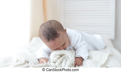 Cute Baby Lying and smile - Cute Baby Lying On Tummy In...