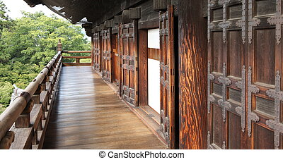 Osaka Castle - Old Osaka Castle. Old wooden doors and...