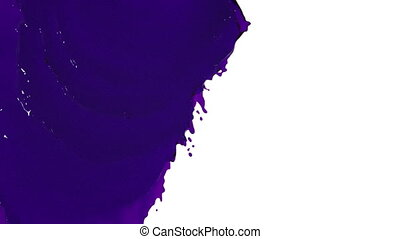 purple liquid flows and fills screen slow motion. tinted oil...