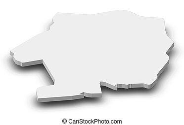Map - Sud-Bandama (Ivory Coast) - 3D-Illustration - Map of...