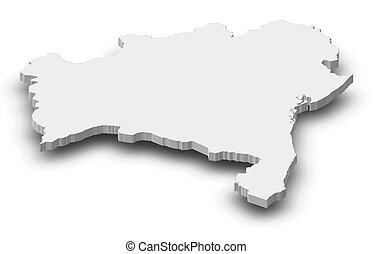 Map - Bahia (Brazil) - 3D-Illustration - Map of Bahia, a...