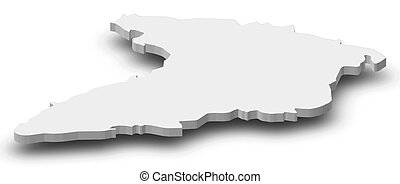Map - Granma (Cuba) - 3D-Illustration - Map of Granma, a...