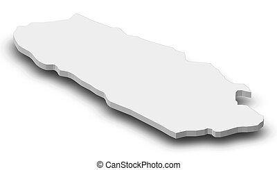 Map - Canton 10 (Bosnia and Herzegovina) - 3D-Illustration -...
