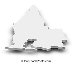 Map - Sud-Comoe (Ivory Coast) - 3D-Illustration - Map of...