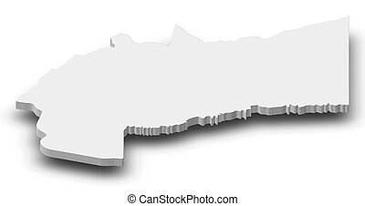Map - Meta (Colombia) - 3D-Illustration - Map of Meta, a...