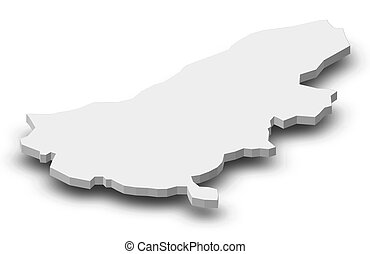Map - Ruse (Bulgaria) - 3D-Illustration - Map of Ruse, a...