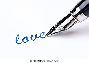 writing message with pen : love - writing message with black...