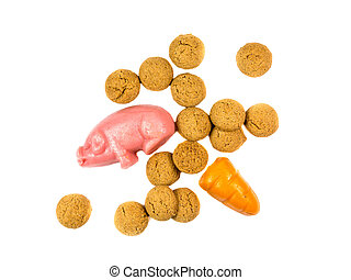 Group of Pepernoten cookies with marzipan pig and carrot...