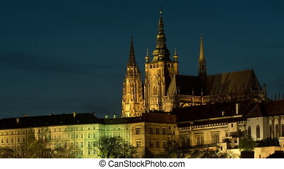 Timelapse of illuminated Prague Castle at night - Timelapse...