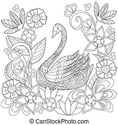 Hand drawn decorated swan into flowers in ethnic style -...