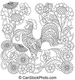 Hand drawn decorated rooster into flowers in ethnic style -...