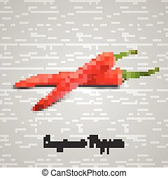 Red hot chili peppers on white back